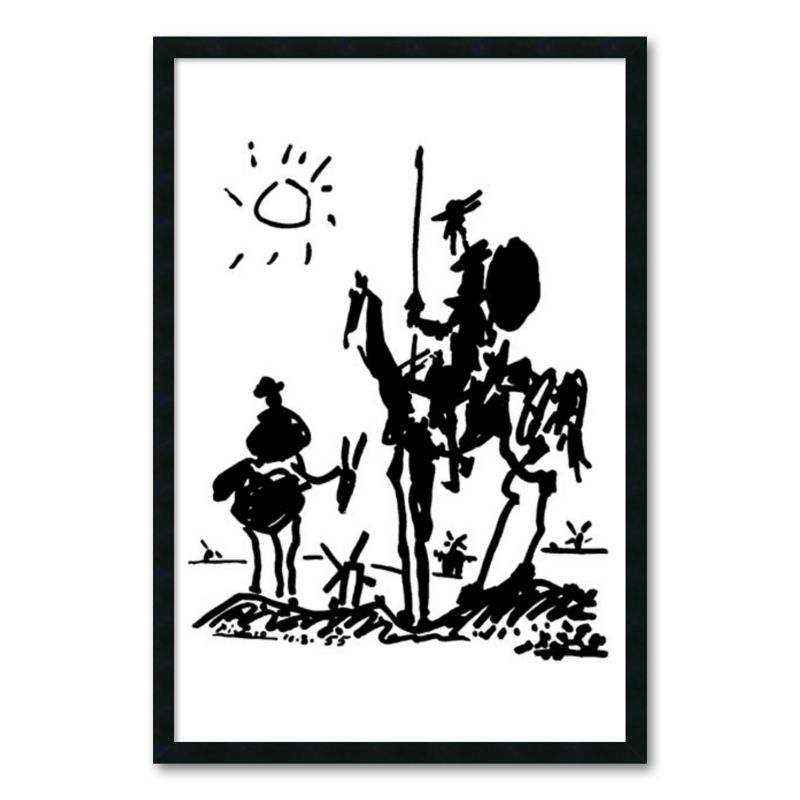 Don Quixote Framed Wall Art by Pablo Picasso, Black