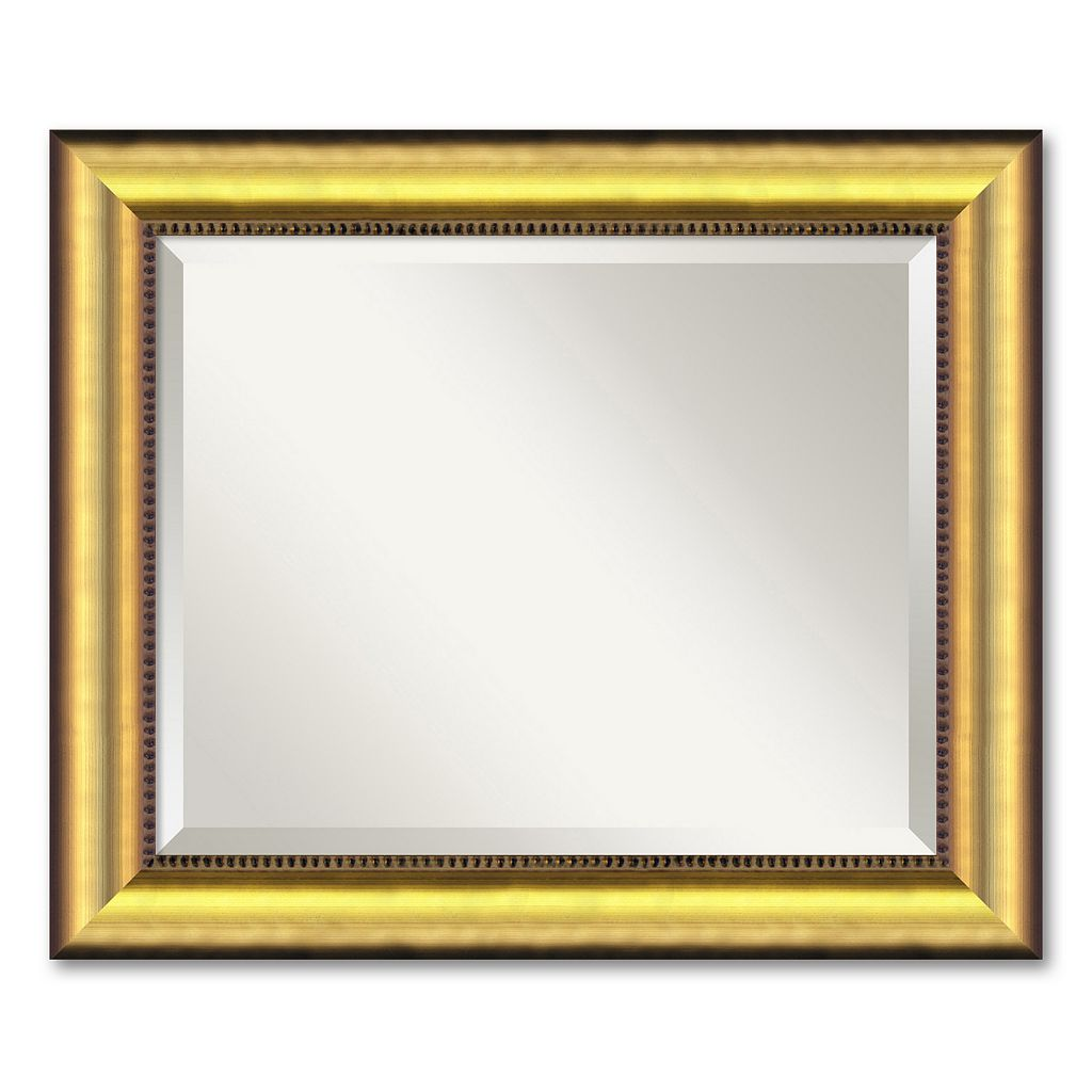 Vegas Small Burnished Gold-Tone Traditional Wood Wall Mirror
