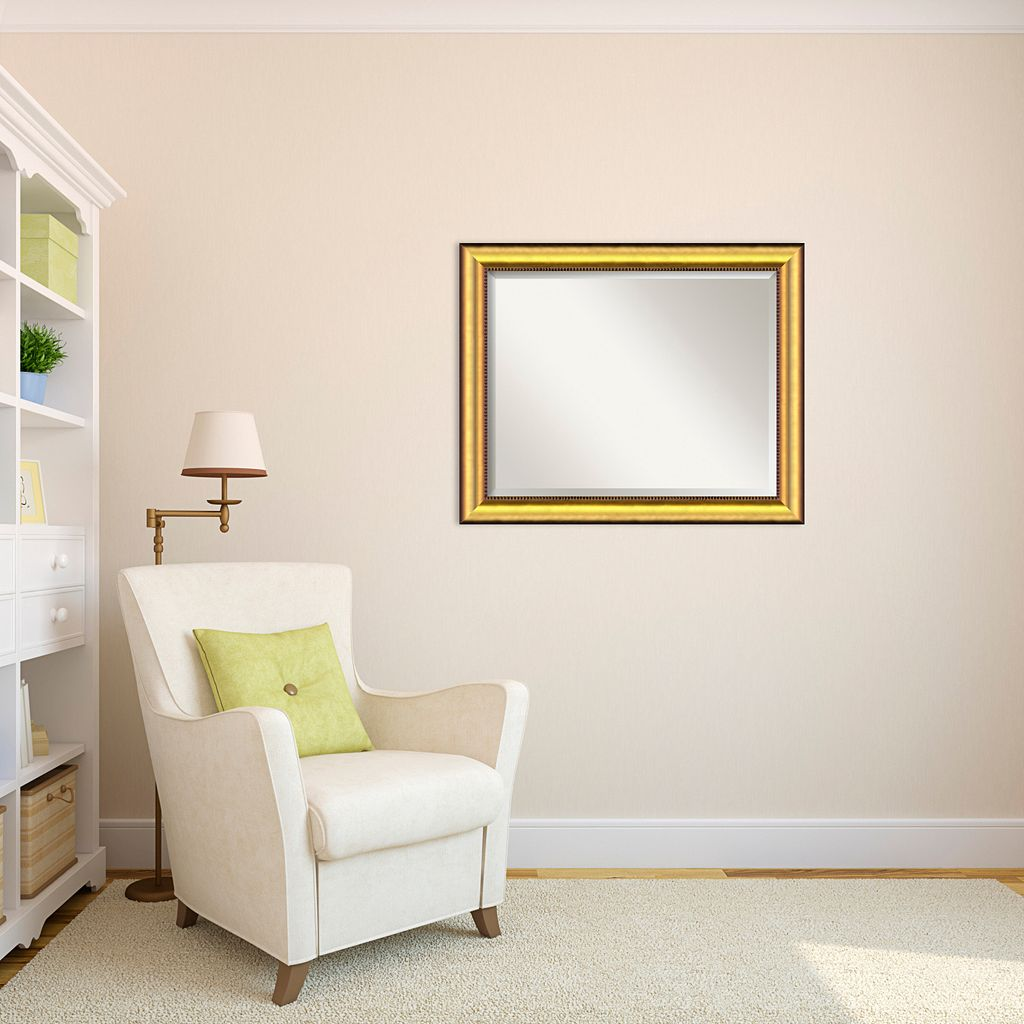 Vegas Large Burnished Gold-Tone Traditional Wood Wall Mirror