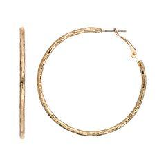 Textured Gold Tone Hoop Earrings