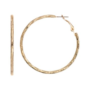 Textured Gold Tone Hoop Earrings