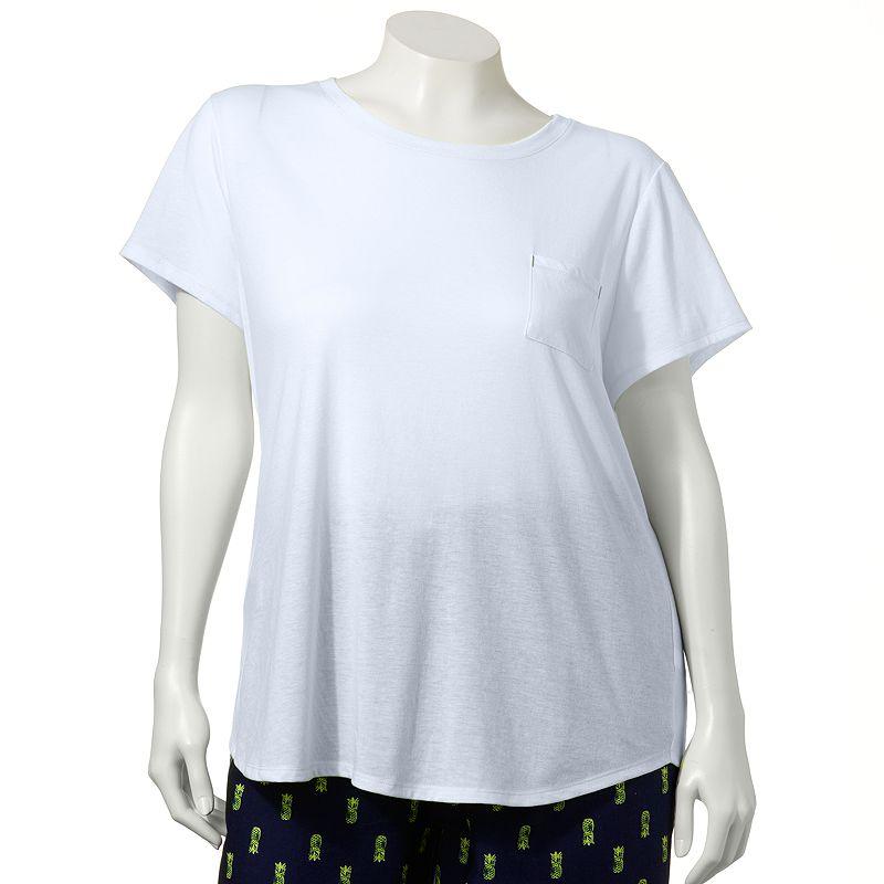 SONOMA life + style Pajamas: Bayside Bonfire Solid Pajama Tee - Women's Plus (White)