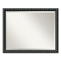 Pequot Large Traditional Black Wood Wall Mirror