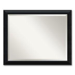 Nero Large Beveled Black Modern Wood Wall Mirror