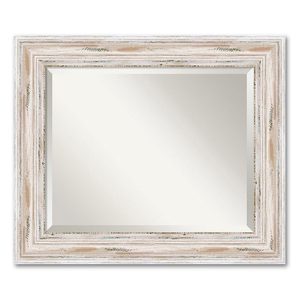 Alexandria Medium Whitewash Distressed Wood Wall Mirror