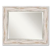 Alexandria Medium Whitewash Distressed Wood Wall Mirror