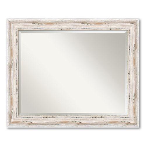Alexandria Large Whitewash Distressed Wood Wall Mirror
