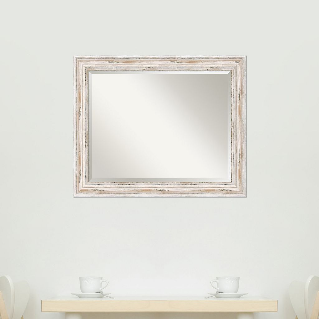 Alexandria Large Whitewash Distressed Wood Wall Mirror