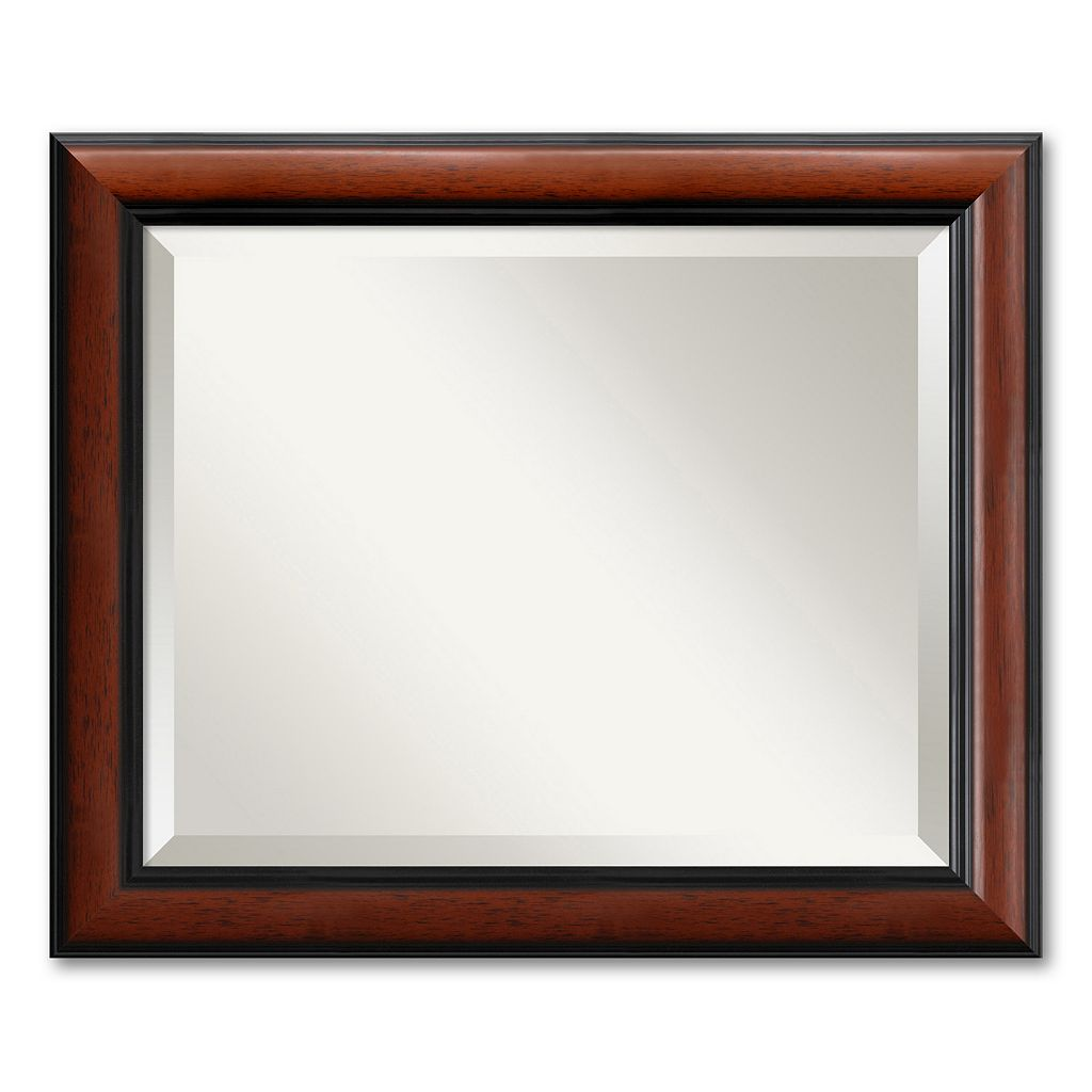 Regency Medium Beveled Traditional Wood Wall Mirror
