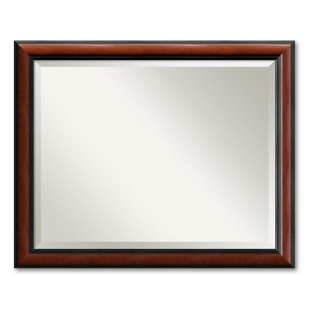 Regency Large Beveled Traditional Wood Wall Mirror