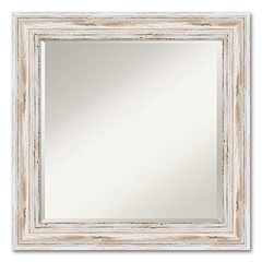 Alexandria Square Whitewash Distressed Wood Wall Mirror