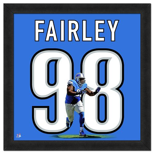 Detroit Lions Nick Fairley Framed Jersey Photo