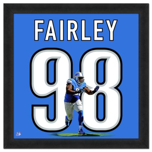 Detroit Lions Nick Fairley Framed Jersey Photo