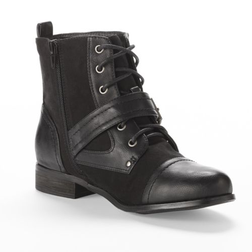 Black Poppy Buckle Combat Ankle Boots - Women