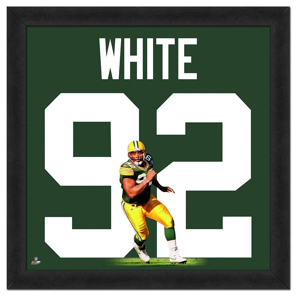 Green Bay Packers Reggie White Framed Jersey Photo