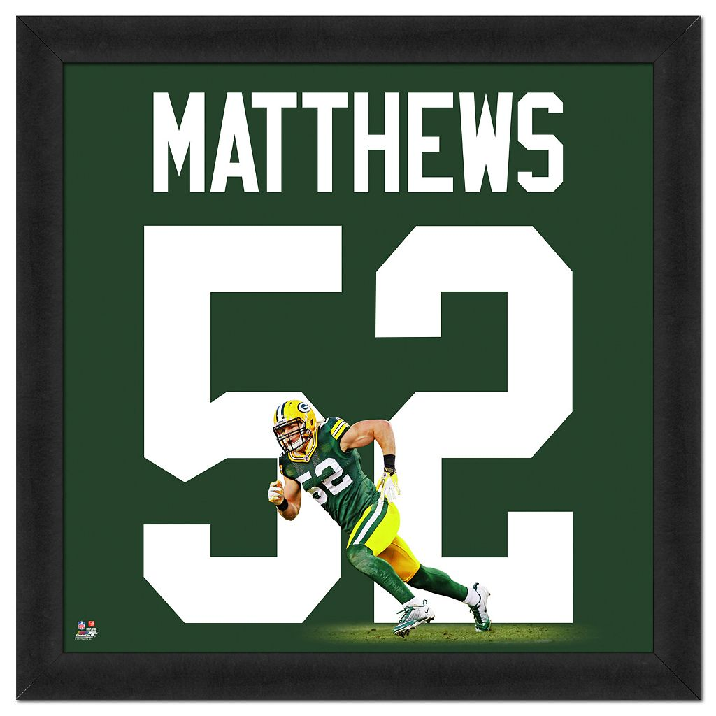 Green Bay Packers Clay Matthews Framed Jersey Photo