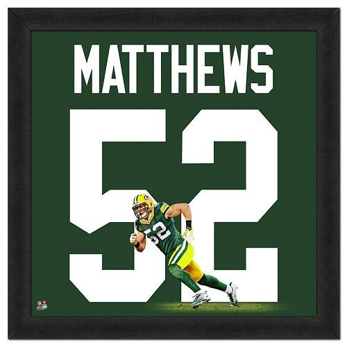 Green Bay Packers Clay Matthews Framed Jersey Photo