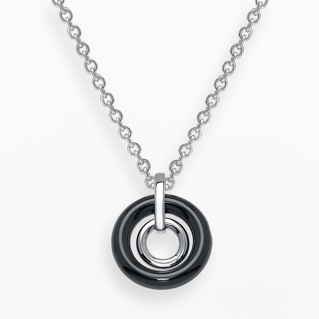 Stainless Steel & Black Ceramic Concentric Circle Pendant