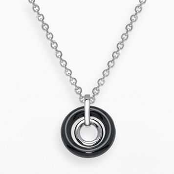 Stainless Steel & Black Ceramic Concentric Circle Pendant