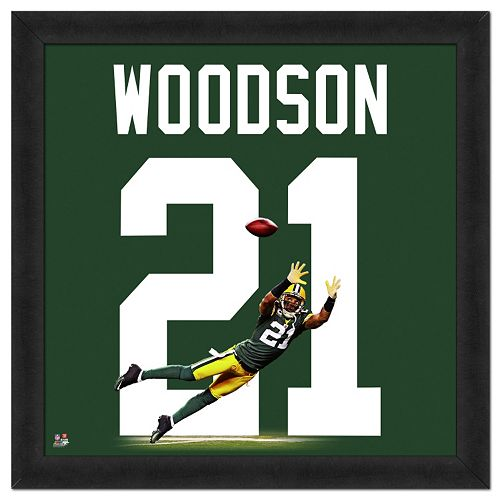 new product 66e89 f49b9 Green Bay Packers Charles Woodson Framed Jersey Photo