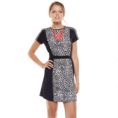 Apt. 9® Snakeskin Panel Crepe Shirtdress - Women's