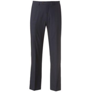 Men's Chaps Classic-Fit Checked Flat-Front Blue Suit Pants