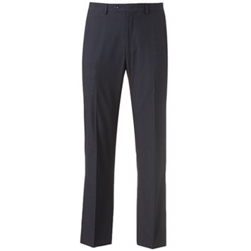 Men's Chaps Classic-Fit Checked Flat-Front Blue Suit Pants