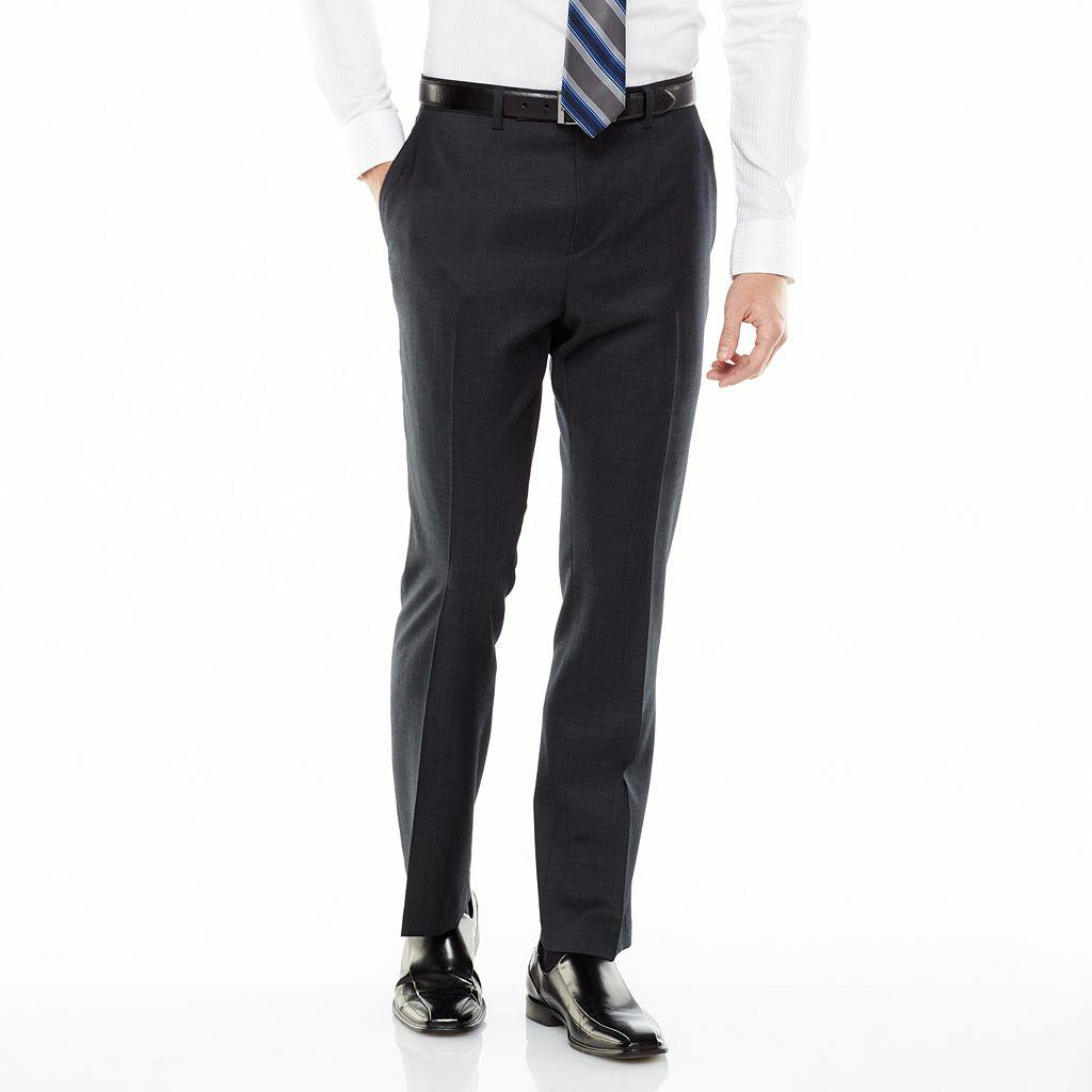 Men's Marc Anthony Slim-Fit Wool Flat-Front Black Suit Pants