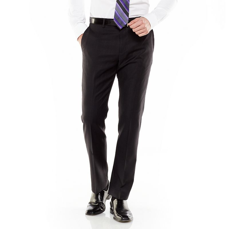 Marc Anthony Slim-Fit Shadow-Checked Wool Flat-Front Black Suit Pants - Men