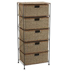 Household Essentials Seagrass & Rattan 5-Drawer Chest