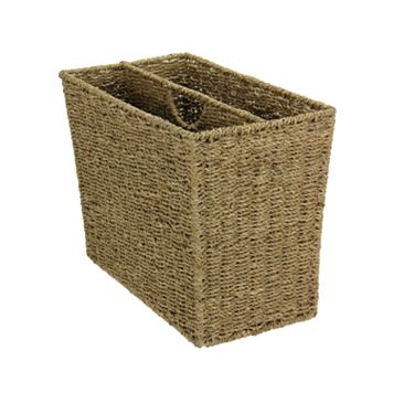 Household Essentials Seagrass Side-by-Side Magazine Rack