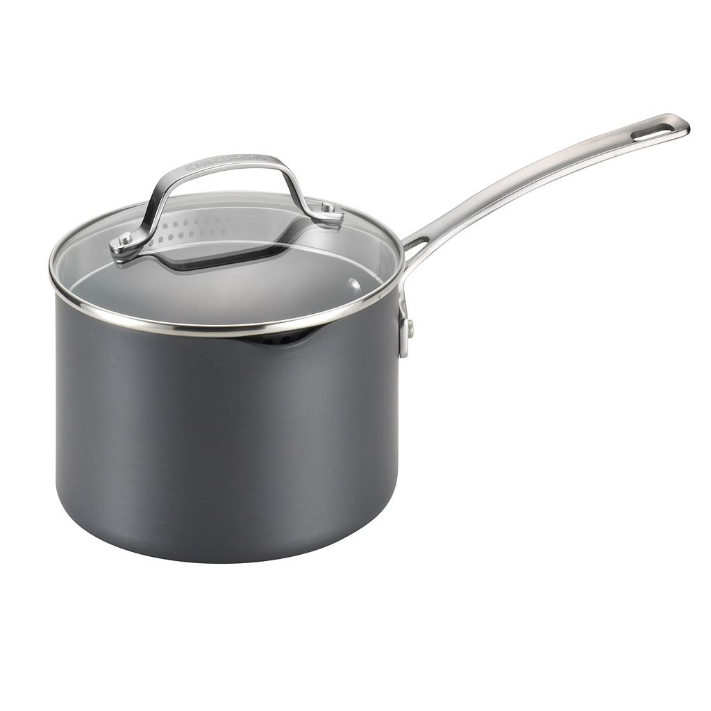 Circulon Genesis 3-qt. Nonstick Hard-Anodized Covered Straining Saucepan