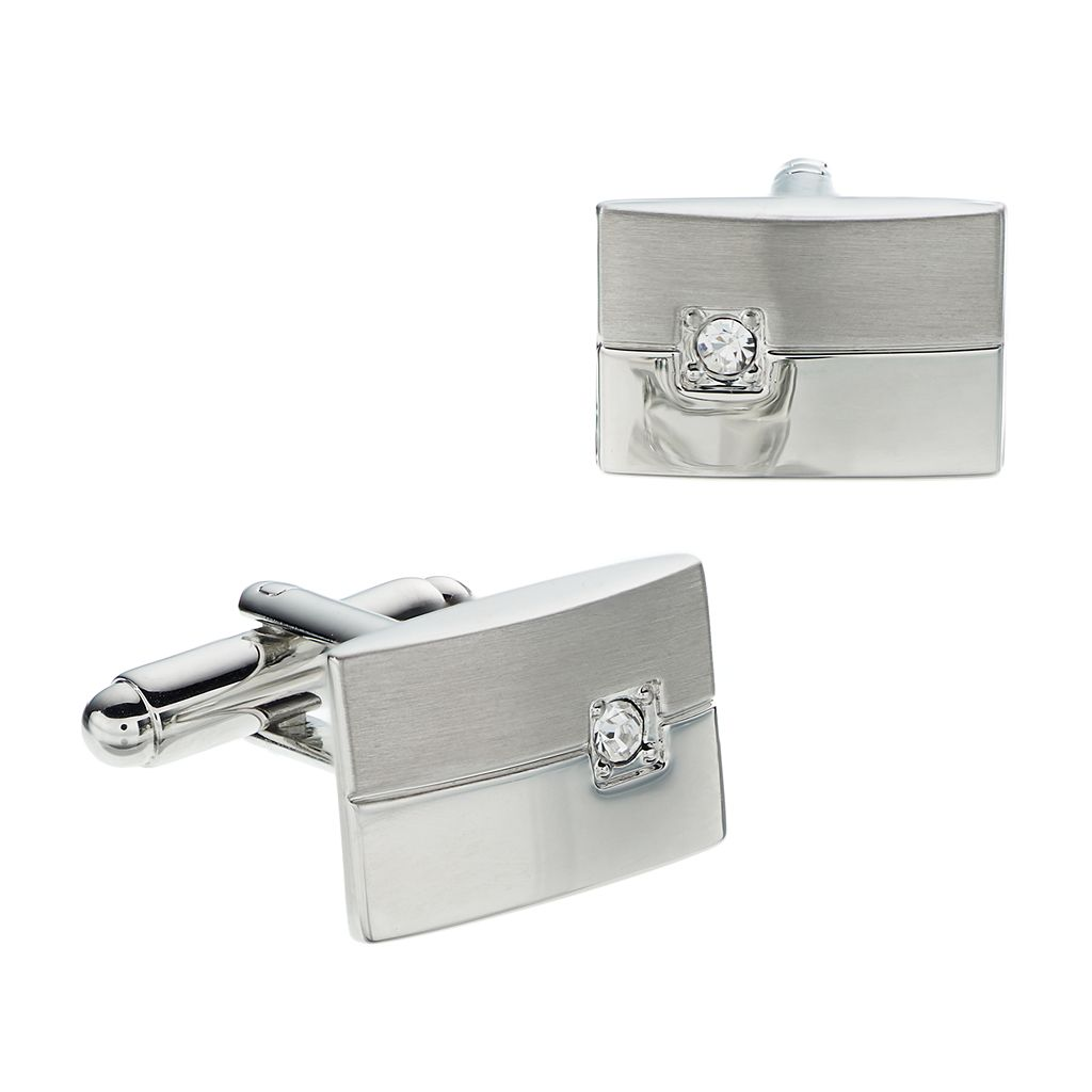 Croft & Barrow® Brushed Polished Rhodium Rectangle Cuff Links - Men