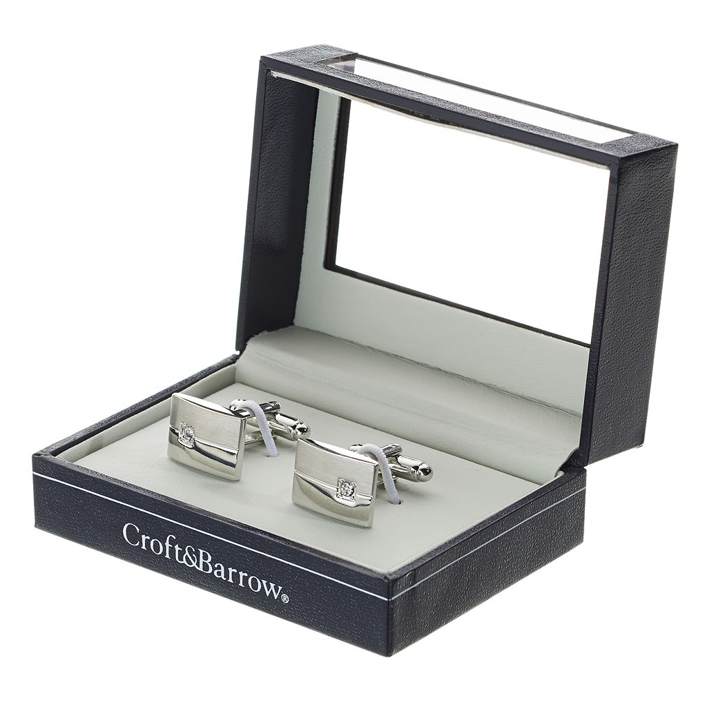 Croft & Barrow® Brushed Polished Rhodium Rectangle Cuff Links - Men