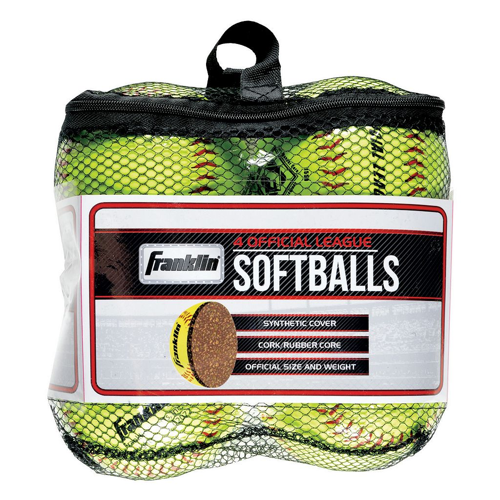 Franklin 4-pk. Official League Yellow Softballs