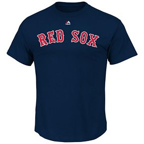 Men's Majestic Boston Red Sox Dustin Pedroia Player Name and Number Tee
