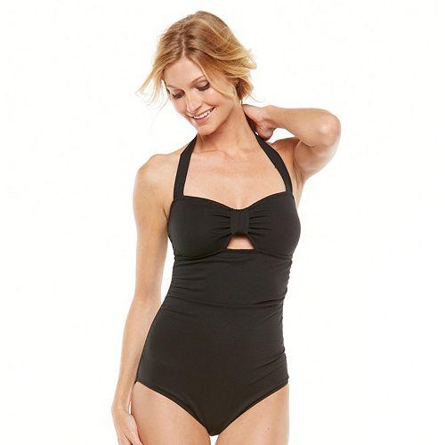 Coastal Zone Textured Halter One-Piece Swimsuit - Women's