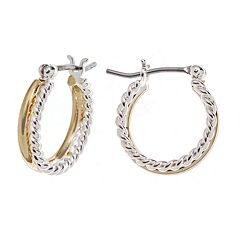 Napier® Two Tone Double Hoop Earrings