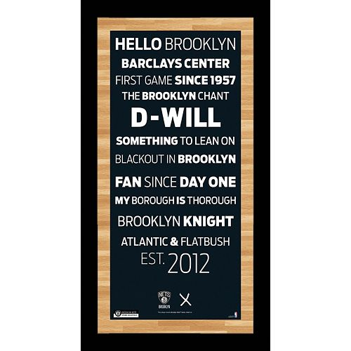Steiner Sports Brooklyn Nets 19'' x 9.5'' Vintage Subway Sign with Game-Used Net