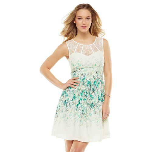Lc Lauren Conrad Floral Lace Fit Amp Flare Dress Women S