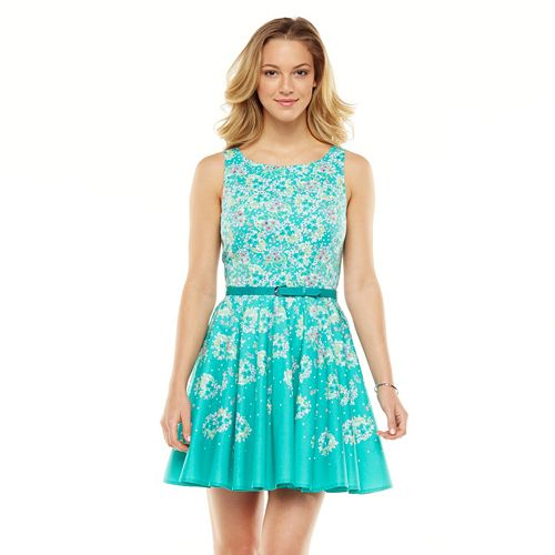 LC Lauren Conrad Floral Pleated Fit & Flare Dress - Women's