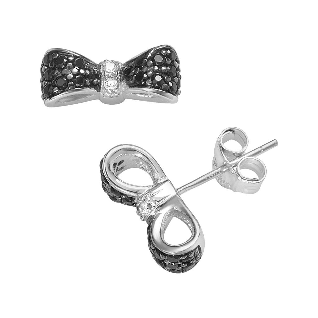 Sophie Miller Sterling Silver Black & White Cubic Zirconia Bow Stud Earrings