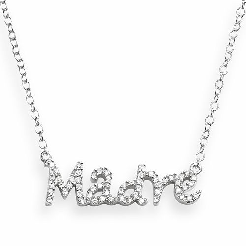 """Sophie Miller Sterling Silver Cubic Zirconia """"Madre"""" Necklace"""