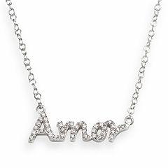 Sophie Miller Sterling Silver Cubic Zirconia 'Amor' Necklace