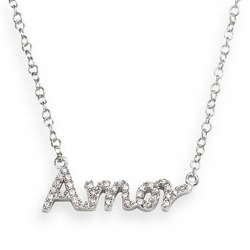 "Sophie Miller Sterling Silver Cubic Zirconia ""Amor"" Necklace"