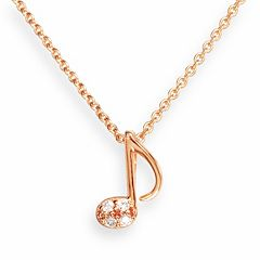 Sophie Miller 14k Rose Gold Over Silver Cubic Zirconia Music Note Pendant