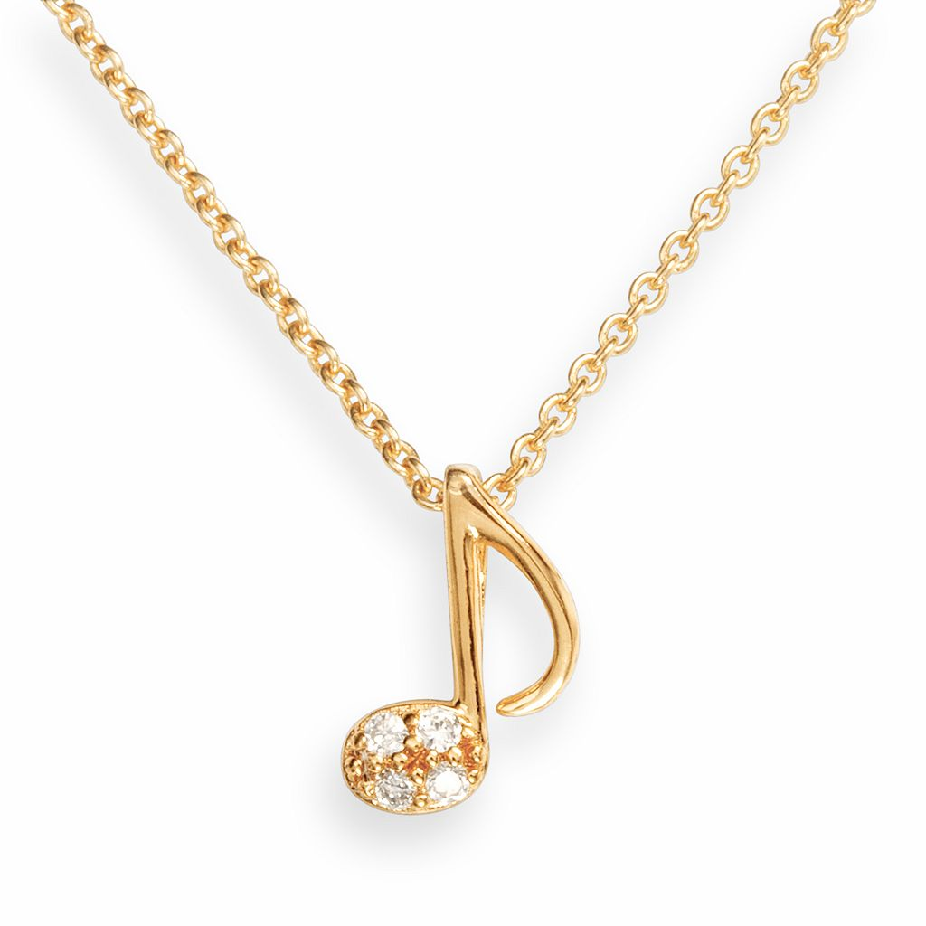 Sophie Miller 14k Gold Over Silver Cubic Zirconia Music Note Pendant
