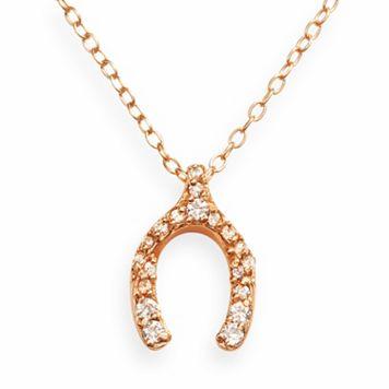 Sophie Miller 14k Rose Gold Over Silver Cubic Zirconia Wishbone Pendant