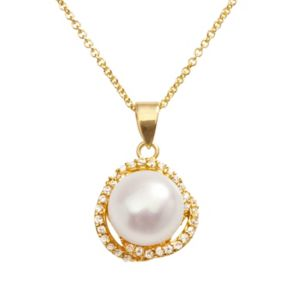 Sophie Miller 14k Gold Over Silver Freshwater Cultured Pearl and Cubic Zirconia Swirl Pendant