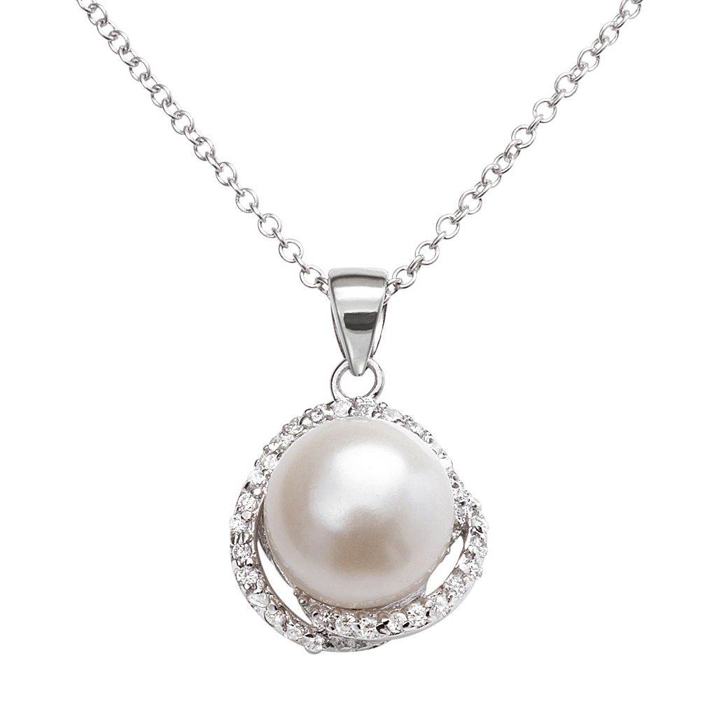 Sophie Miller Sterling Silver Freshwater Cultured Pearl & Cubic Zirconia Swirl Pendant